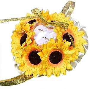 Amosfun Sunflower Shape wedding ring pillow ring bearer pillow wedding party favors supplies (Yellow)