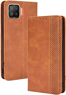 Case for OPPO F17/A73 2020,Retro Flip Wallet Phone Case and Magnetic Closure Suitable for OPPO F17/A73 2020-Brown