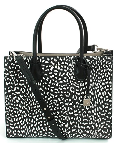 "Black White Full-Grain Leopard Print Leather Interior Details: Center Zip Compartment, Zip Pocket, Slit Pocket , Unlined Textured Coated Canvas Handle Drop: 5.5""  Adjustable Strap: 15.75""-18.25"" 12.5""W X 9.75""H X 5.5""D Silver-Tone Hardware , Beautifu..."