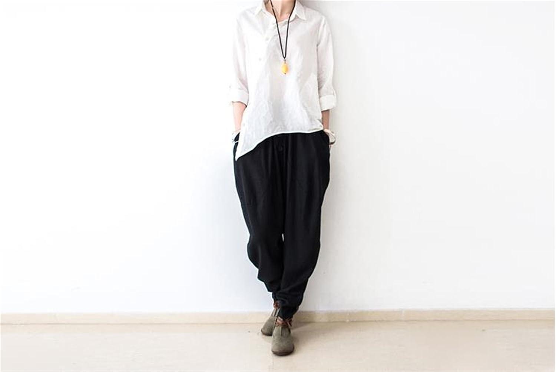 Llettier Spring Style New Women Cotton Linen Pants Trousers Cotton Linen Solid color Loose Plus Size Casual Harem Pants Soft