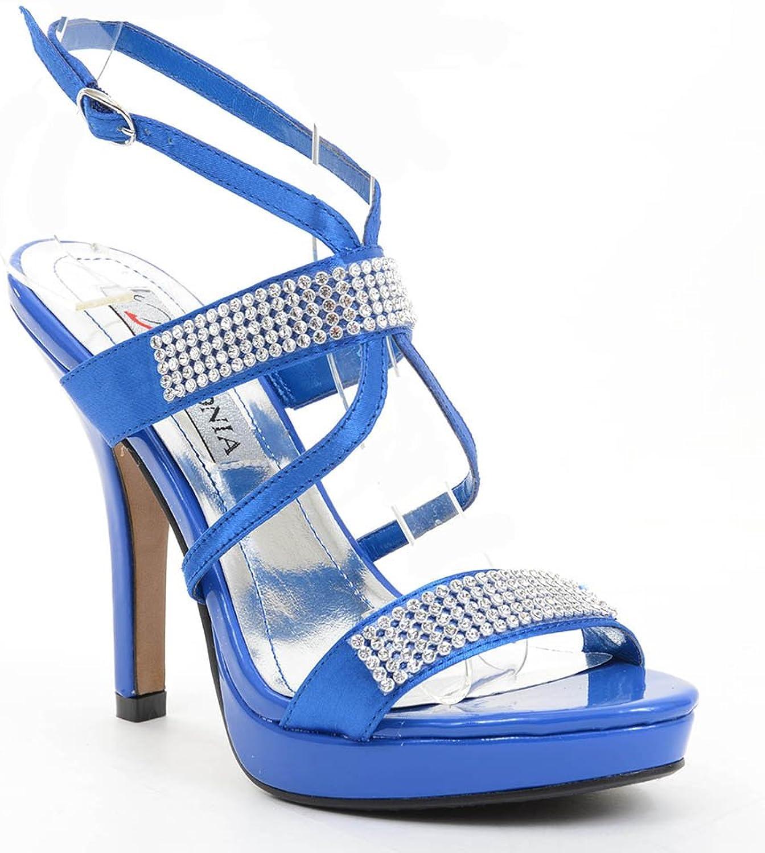 Fourever Funky bluee Satin Jeweled Strappy Anklet Platform Sandal Formal Heels