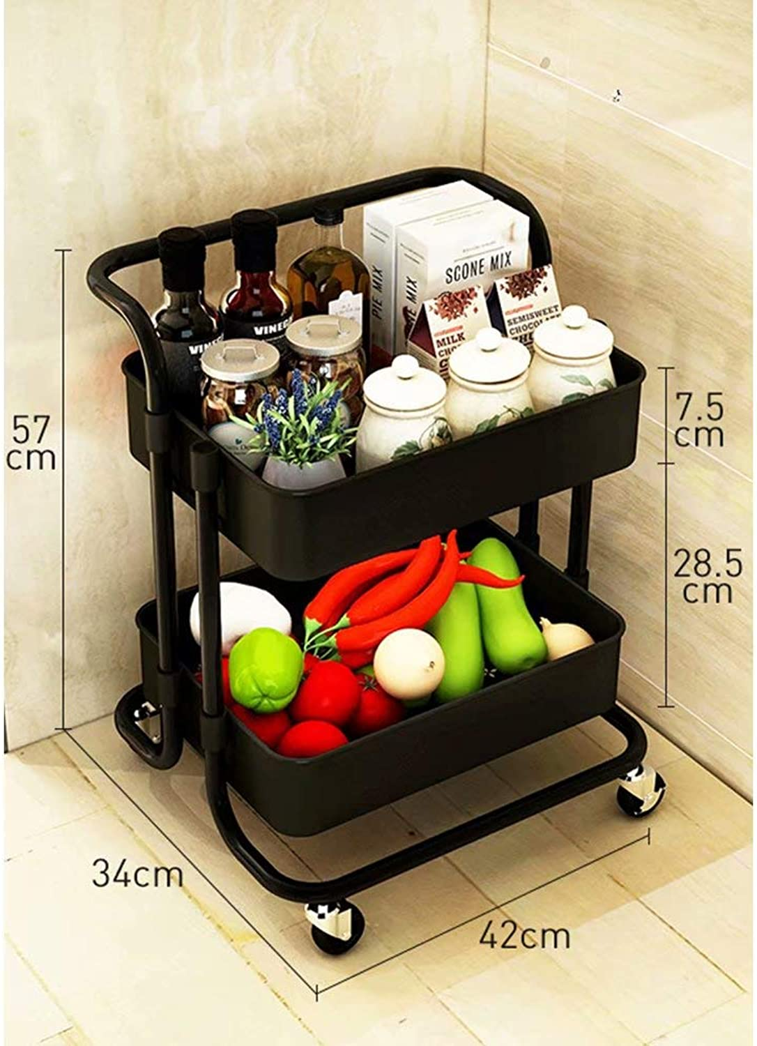 Chrome-Plated Kitchen Trolley on Wheels with 2 3 Tiered Storage Baskets