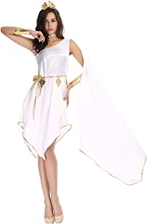 HDE Women's Goddess Halloween Costume Greek Roman Styled Flowing White Gown with Gold Embellishments