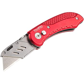 PrvnPro Folding Utility Knife with Belt Latch, Red