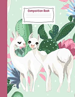 Whimsy Llamas Primary Story Journal Composition Book: Mint Kindergarten to Year 2 Draw and Write Creative Writing Noteboo...