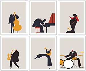 Jazz Musicians Wall Art Decor - Minimalist Style Music Prints of Piano Drums Sax Bass Trumpet Singer Orchestra - Set of 6 (8 x 10 inches each)