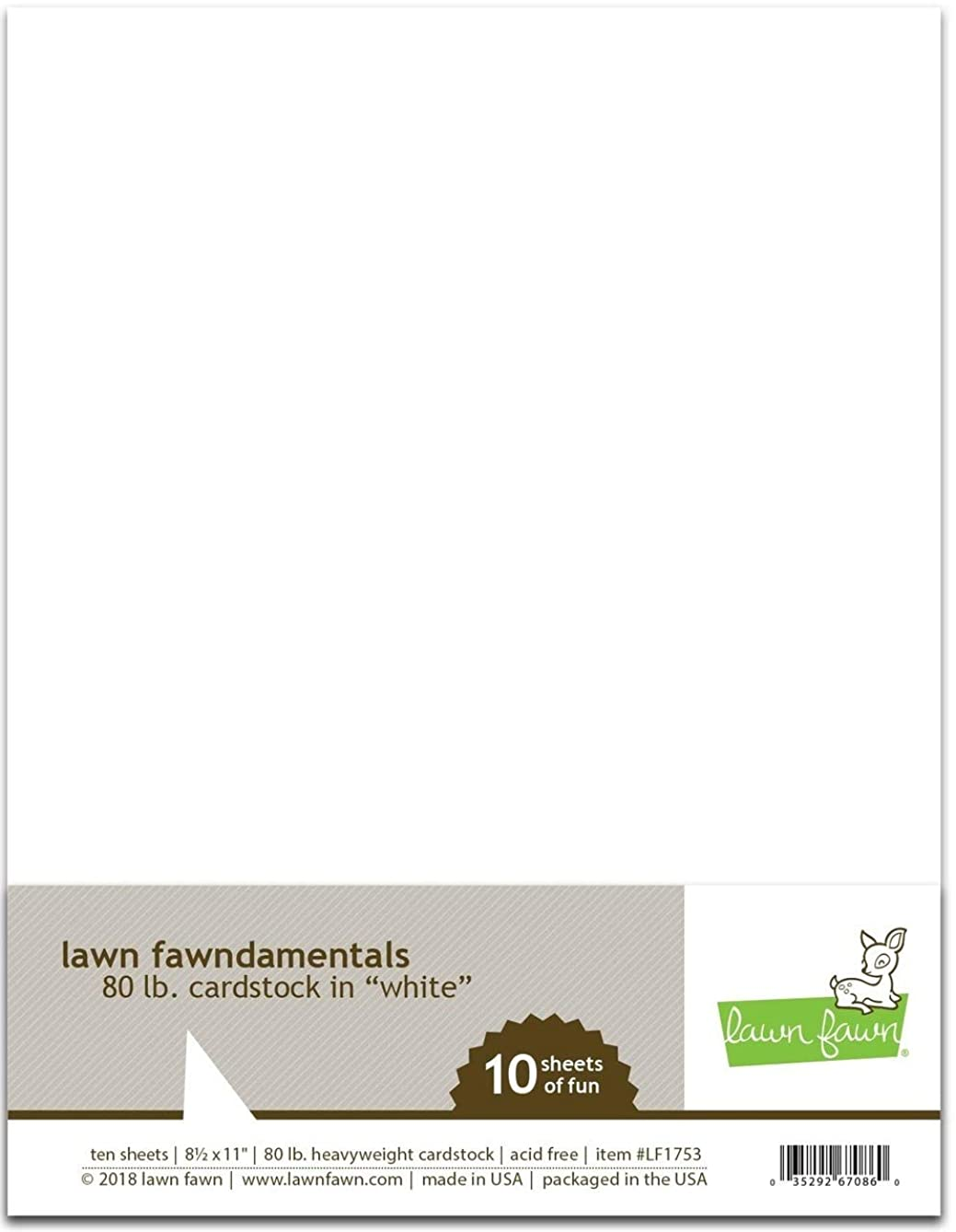 Lawn Fawn 80 lb Cardstock - White - 10 Sheets, 8 1/2