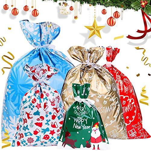 Bolsas de Regalo de Navidad BESTZY 18PCS bolsas de regalos con cordón para Navidad Bolsas de regalo de Año Nuevo Bolsas de Envolver Regalos Bolsas de Goody para Favores de Fiesta de Vacación