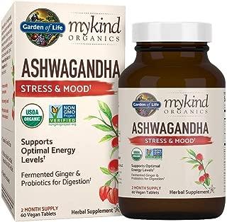 Garden of Life mykind Organics Ashwagandha Stress & Mood 60 Tablets - 600mg Ashwagandha plus Ginger & Probiotics, Supports Healthy Stress Response, Energy Levels - Organic Non-GMO Vegan & Gluten Free