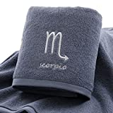 IAMZHL Thick Cotton Towel Set Face Bath Shower Towels Twelve Constellations Embroidery Large Bathroom Home for Adults toalha de banho-Grey Scorpio-2-2pcs Towel Set
