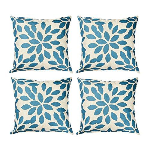 Topfinel Kissenbezüge in Baumwollen- und Leinenoptik Druckkissenhülle Dekorative Sofakissenbezug für Fensterbank Buchhandlung Büro 45 x 45 cm 4er Set Blaue Blatter