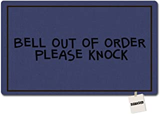 SGBASED Door Mat Bell Out Of Order Please Knock Mat Funny Doormat Washable Floor Entrance Outdoor & Indoor Rug Doormat Non-woven Fabric (18 X 30 inches)