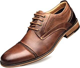 MYHYZZ-Oxfords Oxford for Men Business Dress Shoes Lace up Genuine Leather Vegan Formal Stitching Casual Block Heel Split Joint