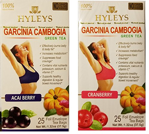 Hyleys Garcinia Cambogia Green Tea Assorted Flavor Variety Bundle: 1-Acai Garcinia Cambogia Green Tea,1- Cranberry Garcinia Cambogia Green Tea