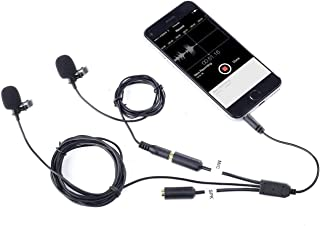 Movo Professional Lavalier Lapel Clip-on Interview Podcast Microphone with Secondary Mic and Headphone Monitoring Input for iPhone, iPad, Samsung, Android Smartphones, Tablets - Podcast Equipment