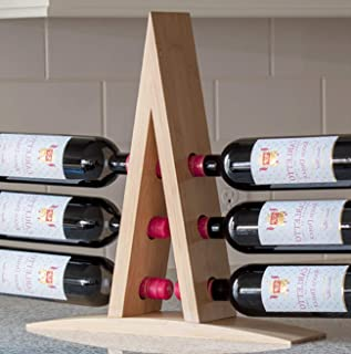 Wine Racks Countertop - 6 Bottle, Bamboo, Wine Bottle Holder for Small Spaces, Kitchen, Bar, Cabinet | Small Free StandingWine Rack. Minimal Assembly Required