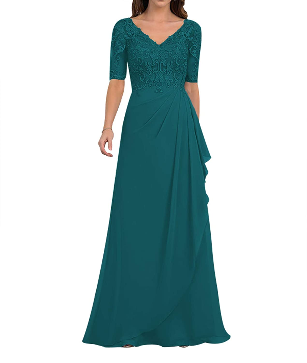 Mother of Super popular specialty store The Bride Dresses Max 50% OFF with Dress Sleeves Lace Long Evening