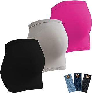 HBselect Fajas De Embarazo para Premamá Pack 3 Multicolor Banda Faja para Soporte Abdominal Durante El Embarazo con 3 Hebi...