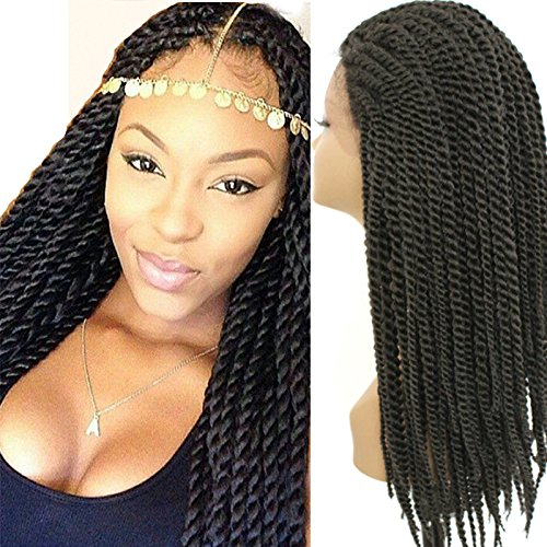 """PlatinumHair black twist braids synthetic lace front wigs heat resistant synthetic braided wigs 24"""""""