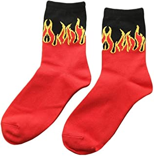 Bluelans Fashion Women Men Flame Print Soft Warm Cotton Breathable Crew Socks for for Men Women Girls Boys