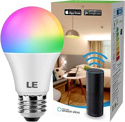 LE Bombilla LED Inteligente WIFI, 9W E27 16 Millones de luces colores y Blanca 2700K, Iluminación de Modos regulables, no hub requerido, APP para Smartphone, compatible con Alexa, IFTTT, google home