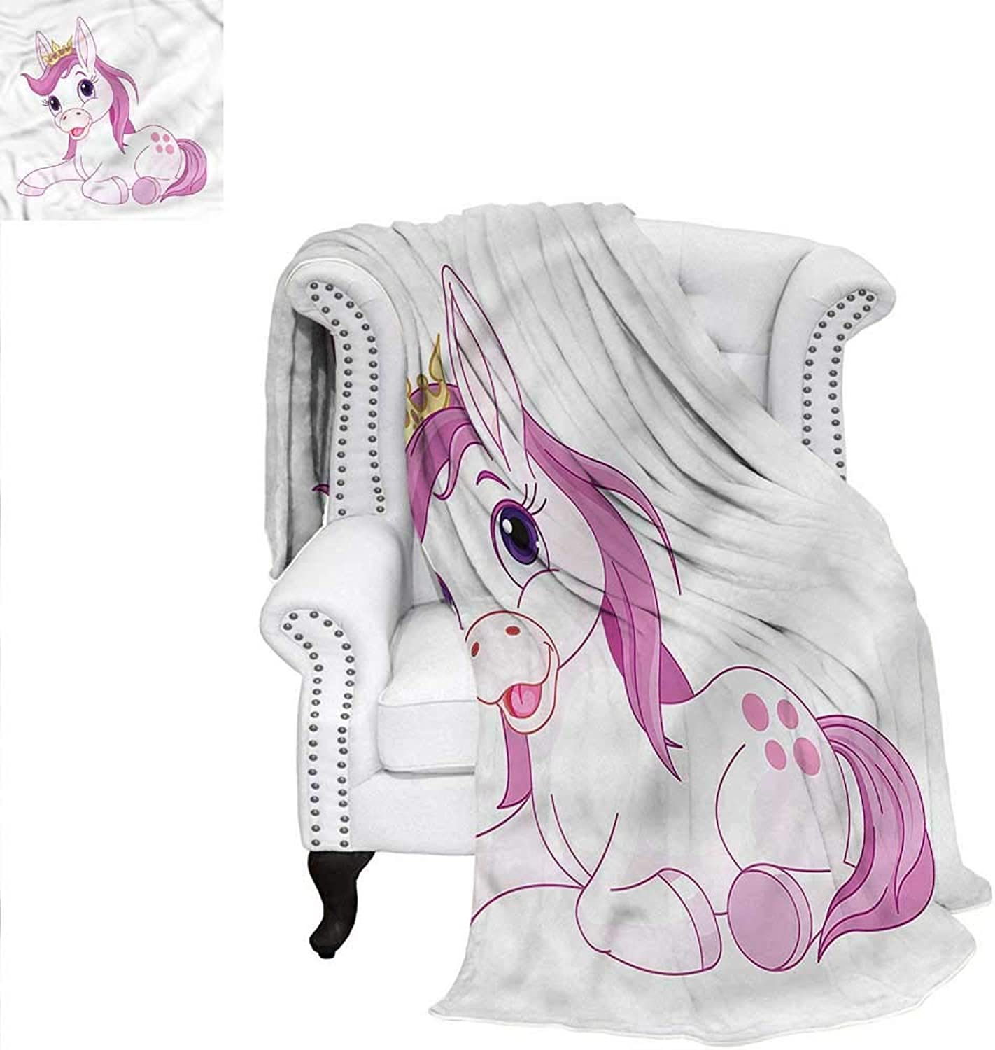 Cute Throw Blanket Fairy Princess Horse Resting Oversized Travel Throw Cover Blanket 60 x50