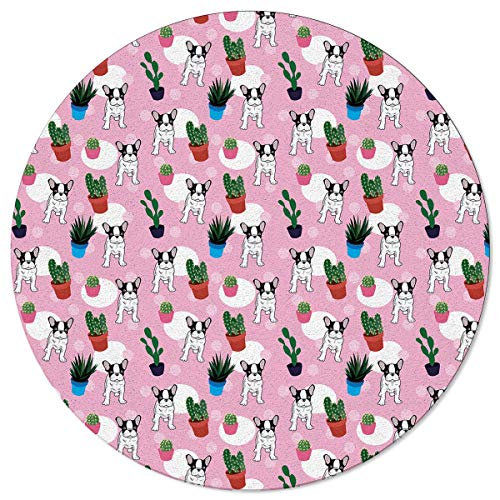 60CM Runder Bereich Teppich Bulldogge und Kaktus Pflanzen Spikes Cartoon wie Kunstdruck, werfen Teppiche Bodenteppich