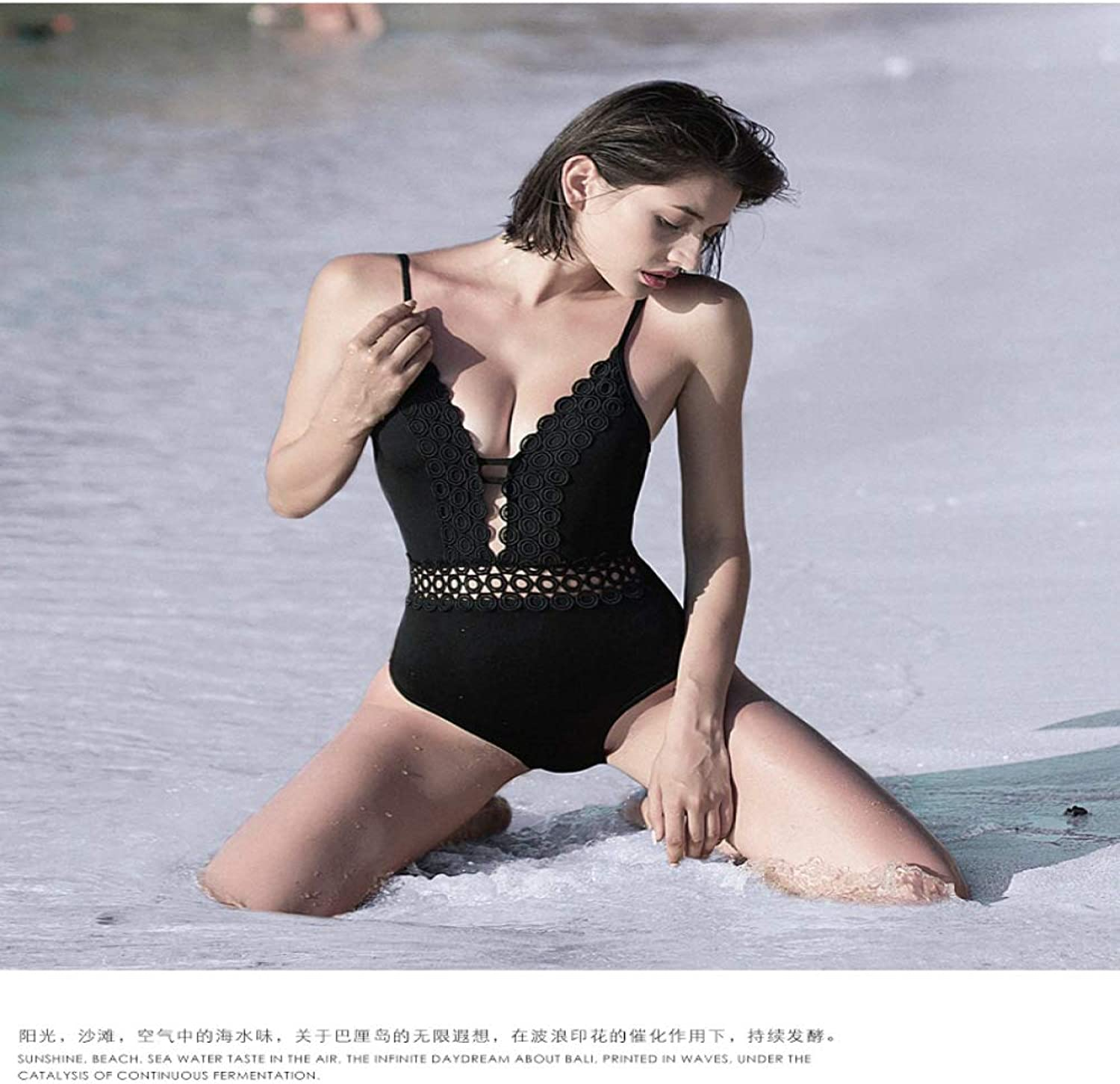 LXKDYYY Slim Small Chest Gathered Covered Belly Swimsuit Conservative Cover Meat Fashion hot Spring Bathing Suit Female Siamese Black