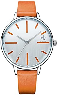SK Ladies Watch Leather Band Orange K0060