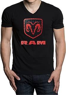 Men's Dodge Ram Logo Black V-Neck T-Shirt Black
