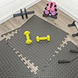 Ottomanson Multipurpose Anti-Fatigue Exercise Puzzle Interlocking EVA Tiles-24 Sq. Ft. (Black) Foam...