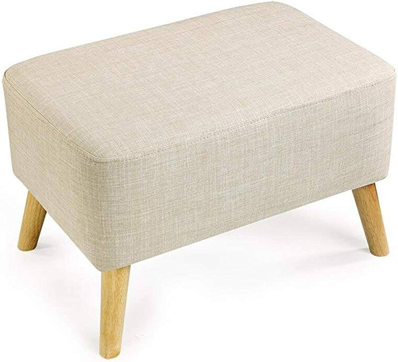 Carl Artbay Wooden Footstool Cream Color Large Change The Shoe Stool Solid Wood Short Pedal Cloth Bed Stool Simple Home
