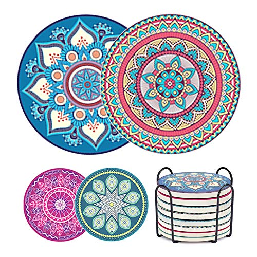 Ceramic Coasters for Drinks, Absorbent Mandala Stone Coasters with Cork Base and Holder for Home Decor Tabletop Protection, Perfect Housewarming Bar Kitchen Home Decorations, Drink Coasters Set of 8