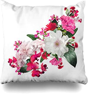 Homeyard Throw Pillow Cover Flowers Bouquet Roses Peony Daisy Orchid Lily Valley Wild Leaves Vintage Green Bloom Home Decor Sofa Cushion Square Size 18 x 18 Inches Zippered Pillowcase