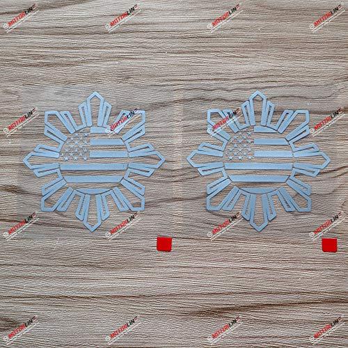 2X Silver 4'' Philippines American USA Flag Sun Star Filipino Decal Sticker Car Vinyl no bkgrd