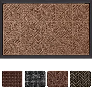 Outside Shoe Mat Rubber Doormat for Front Door 18 x 30  Outdoor Mats Entrance Waterproof Rugs Dirt Debris Mud Trapper Carpet for Patio Non Skid Doormats all Weather Exterior Door Mat Brown