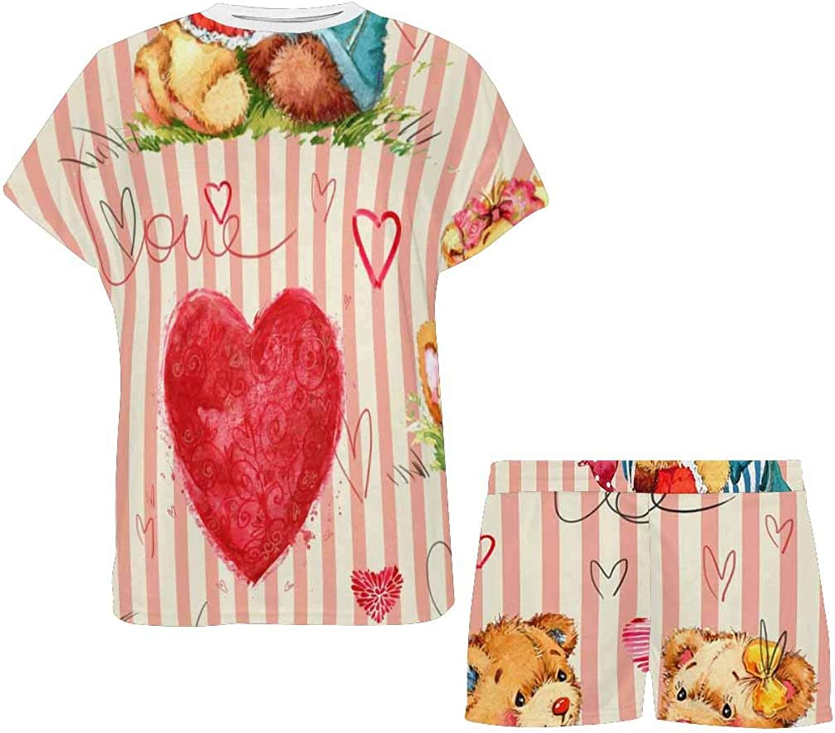 INTERESTPRINT Cute Teddy Bear Valentine Day Women's Pajama Sets Short Sleeve Shorts - Pajamas for Women