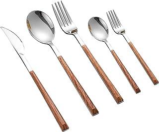 Ensembles de vaisselle 304 Vaisselle en acier inoxydable Ensemble de bois brillant Argent 1/6/8/12/24 PCS Western Food Cou...