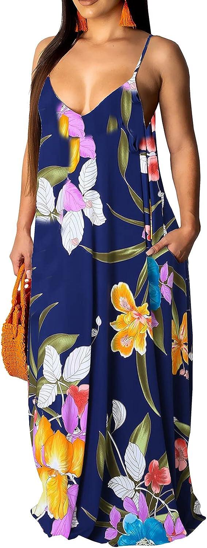 Women's Sexy Plus Size Boho Sundress Summer Long Maxi Maternity Dresses with Pockets