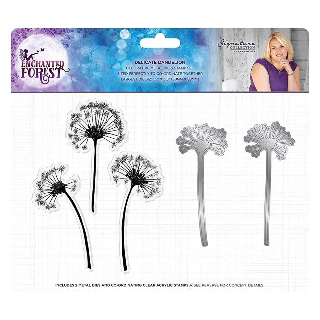 Sara Signature Collection S-EF-MDS-DD Sara Signature - Enchanted Forest - Die & Stamp - Delicate Dandelion Stamp and Metal Die Set Clear/Silver qnddec504079