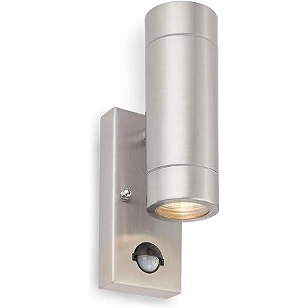 Palin Matt Black Stainless Steel External Outdoor Security PIR Motion Detector GU10 Wall Spot Down Light IP44 Rated