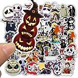 BLOUR 50 Uds Pesadilla Antes de Navidad Paquete de Pegatinas de película de Halloween Fans Anime Paster Cosplay Scrapbooking DIY teléfono portátil decoración