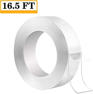 Traceless Washable Adhesive Tape, Nano Removable Adhesive Tape, Double Sided Adhesive Grip Transparent Tape, Double Sided Clear Gel Nano Grip Tape for Paste Posters and Photos Fix Carpet Mats(16.5FT)