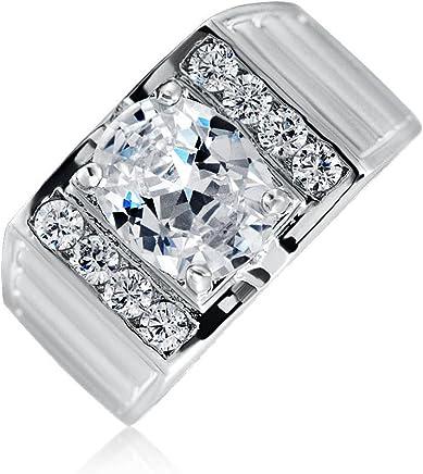 Bling Jewelry 贝灵珠宝 男款 椭圆?#29289;?#30707; 冰铜订婚戒指 镀铑 纽约直邮 【亚马逊海外卖家】
