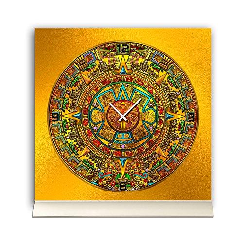 Tafelklok 30cmx30cm incl. aluminium standaard -mystiek ontwerp zonnescherm Maya kalender geruisloos kwartsuurwerk -wandklok staande klok TU4242 DIXTIME