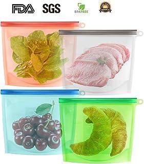 Bolsas de almacenamiento reutilizables de silicona | Conservación De Frutas, Vegetales, Carnes | Sello hermético, a prueba de fugas, mantiene los alimentos frescos | Congelación, Vapor, Hervir, Mic, 4 pzas.