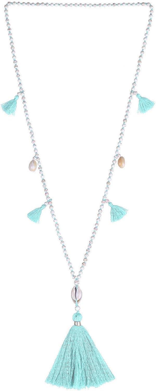 KELITCH Natural Shell Crystal Beaded Necklace Handmade Chains Tassel Layering Pendants Fashion Charm Jewelry, Macaron Green