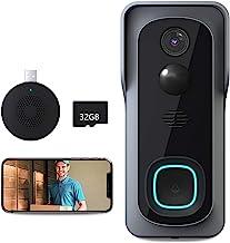 Video Doorbell Camera, Lefun 1080P WiFi Wireless Security Camera Doorbell with 32Gb SD/Chime, IP65 Waterproof Smart Outdoo...