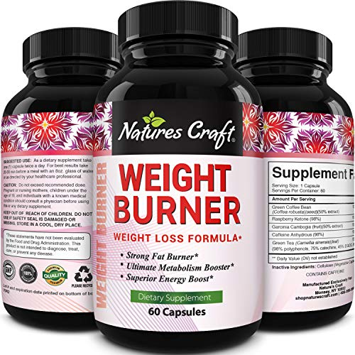 Natures Craft's Garcinia Cambogia Extract Fast Acting Weight Loss and Energy Pills for Women & Men - Boost Metabolism Green Coffee Bean + Raspberry Ketones - Antioxidant Support & Detox Cleanse