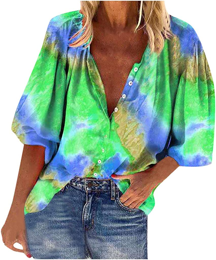 Womens Button Down V Neck Shirts Tie-dye Print Top Plus Size Loose Blouse Three-Quarter Lantern Sleeves Tunics